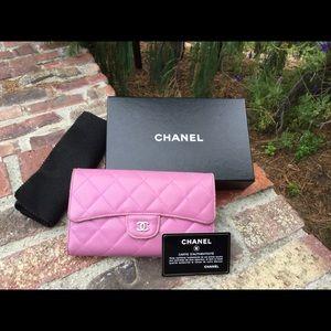 Rare Color Chanel Lambskin Long Wallet w/Box &Card